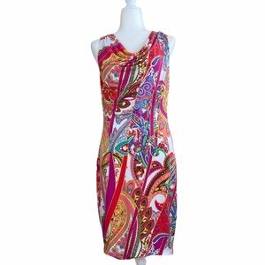CACHÉ | Paisley Cow Neck Fitted Dress